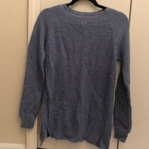 Denim blue colored, stitched crew neck sweater
